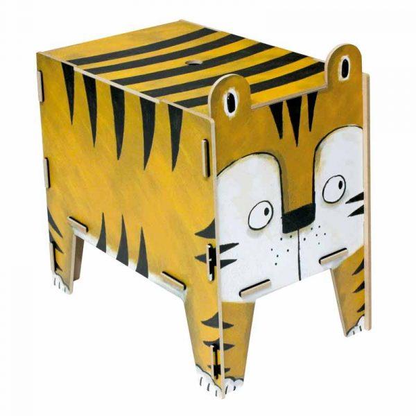 """Tabouret- Coffre de rangement """"Tigre"""" en bois recyclé. WERKHAUS."""