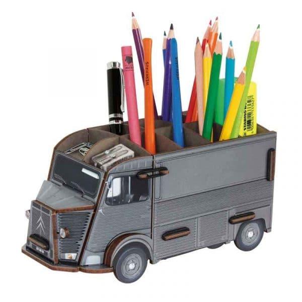 Pot à crayons Citroën HY gris en bois recyclé. WERKHAUS