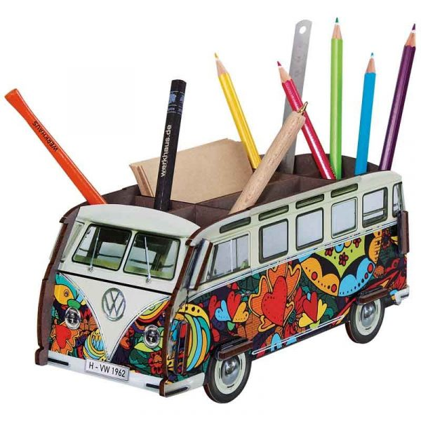 Pot à crayons VW-T1 Popart en bois recyclé. WERKHAUS. Allemagne.