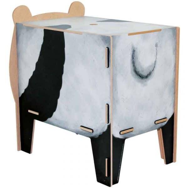 """Tabouret- Coffre de rangement """"Panda"""" en bois recyclé. WERKHAUS."""