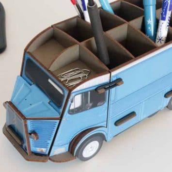 Pot à crayons Citroën HY bleu en bois recyclé. WERKHAUS
