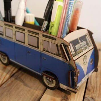 Pot à crayons VW-T1 - Bleu - en bois recyclé. WERKHAUS. Allemagne.