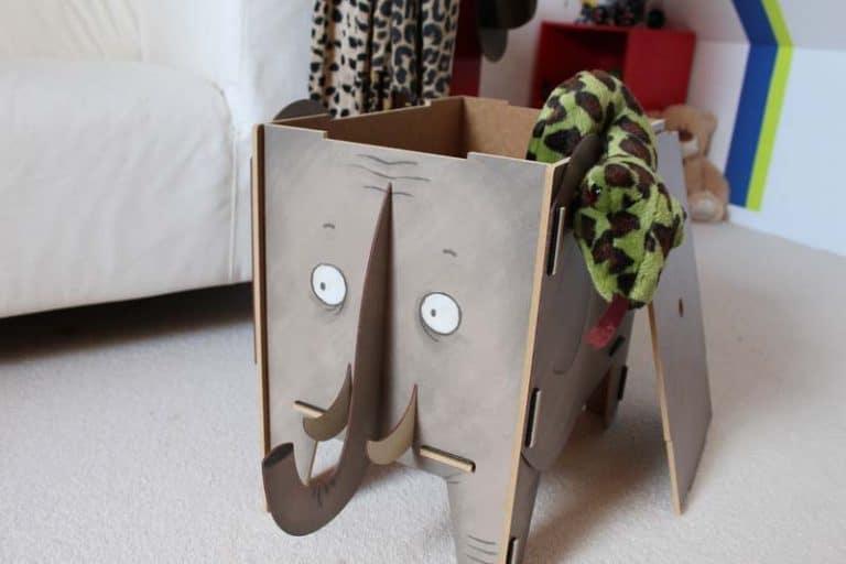 """Tabouret- Coffre de rangement """"Eléphant"""" en bois recyclé. WERKHAUS"""
