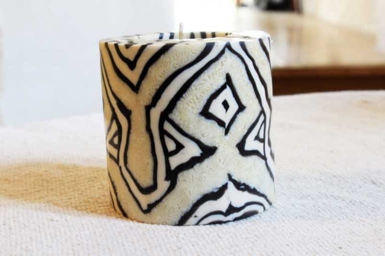Bougie artisanale du Swaziland. Fait main. Motif Kuba. Commerce équitable.