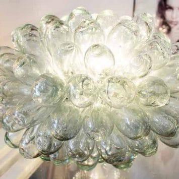 """Lampe """"Grappe"""" Baladi transparente. Verre recyclé soufflé à la bouche. Maison d'Alep"""