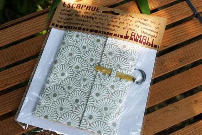 Carnet ESCAPADE Bambou. Gris/ Blanc.Papier Lokta. NEPAL. Lamali.