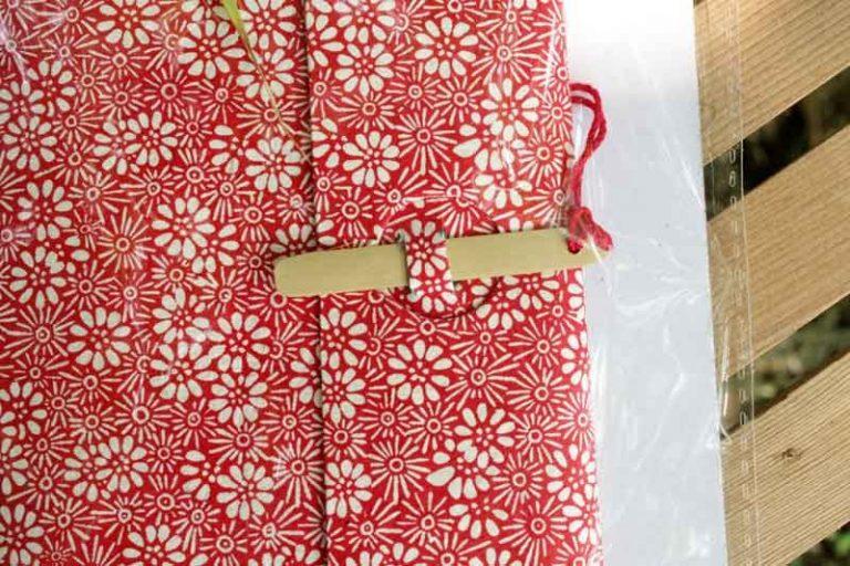 Carnet ESCAPADE Bambou. Rouge/ Blanc.Papier Lokta. NEPAL. Lamali.