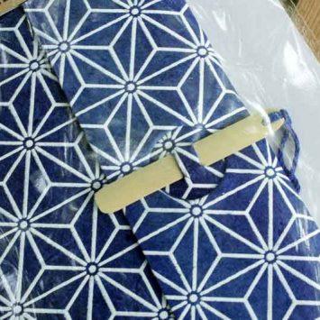 Carnet ESCAPADE Bambou. Bleu/ Blanc.Papier Lokta. NEPAL. Lamali.
