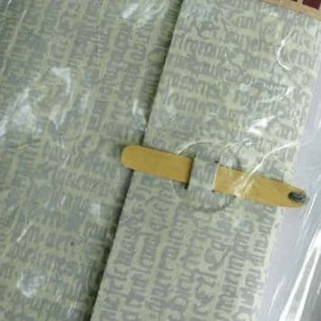 Carnet ESCAPADE Bambou. Gris/ Ecritures.Papier Lokta. NEPAL. Lamali.