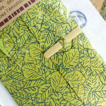 Carnet ESCAPADE Bambou. Feuillage vert.Papier Lokta. NEPAL. Lamali.