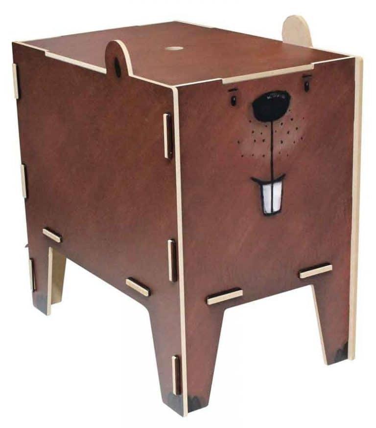 Tabouret- Coffre de rangement Castor en bois recyclé. WERKHAUS.