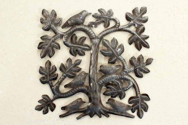 """Arbre de vie """"arbre et oiseaux"""" carré. Fait main à Haïti."""