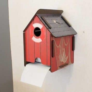 """Dérouleur de papier toilette """"Maison de pêcheur"""" en bois recyclé. WERKHAUS."""
