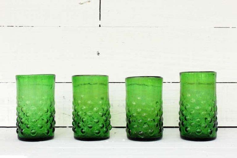 "Set of 4 glasses ""Grenade"" GREEN, mouth-blown. La Maison d'Alep."