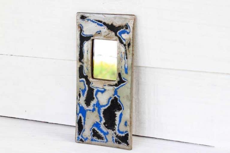 Mini miroir 7x15 cm en fût de métal recyclé, Ramsa 5