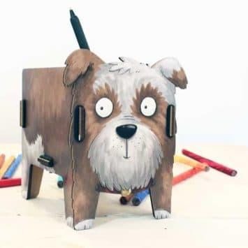 """Pot à crayons """"Chien"""" en bois recyclé. WERKHAUS"""