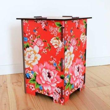 """Tabouret/ Table d'appoint """"Fleurs"""" en bois recyclé. WERKHAUS"""