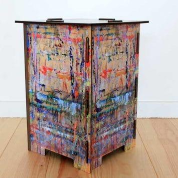 """Tabouret/ Table d'appoint """"Peinture"""" en bois recyclé. WERKHAUS"""