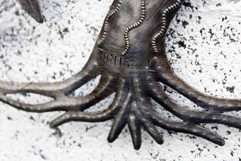 """Arbre de vie """"Saule pleureur & oiseaux"""", métal recyclé. Fait main. Haïti."""