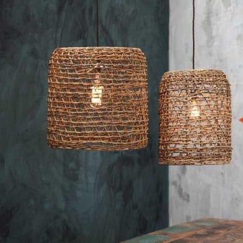 Lampe suspension en rotin naturel. Artisanal. Taille L.