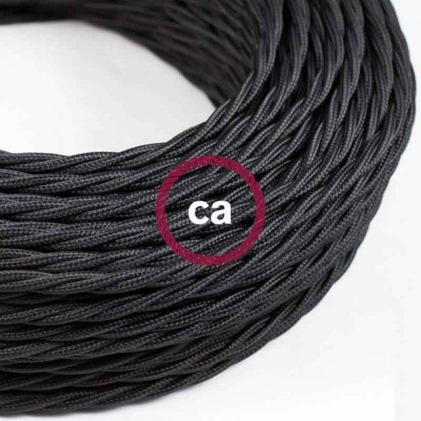Cordon textile torsadé noir (1 m env.)