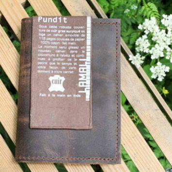 """Carnet de voyage """"Pundit"""", en cuir et papier coton. Lamali"""