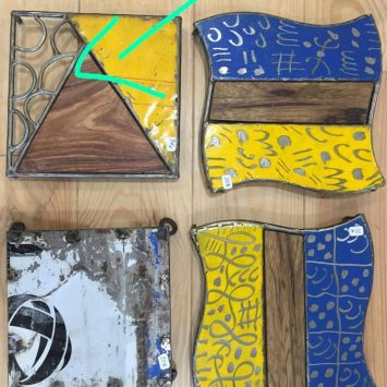 Dessous de plat bois- métal recyclé. BURKINA FASO.