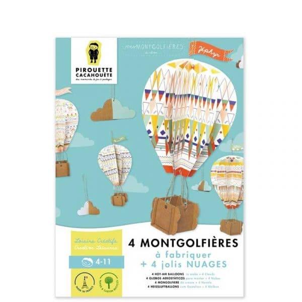 4 montgolfières à assembler + nuages (DIY). France.