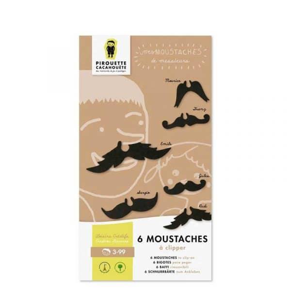 6 moustaches rigolotes et confortables. Carton. France.