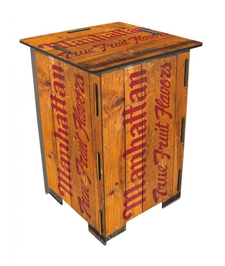 """Tabouret/ Table d'appoint """"Manhatten"""" en bois recyclé. WERKHAUS"""