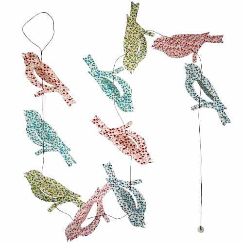 """Guirlande """"Oiseaux-Lilly"""" en papier Lokta. NEPAL. Lamali."""