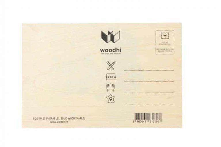 Dos Carte postale en bois d'érable du Jura. FRANCE.