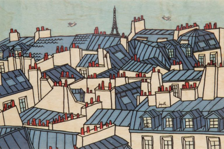 Carte postale en bois d'érable du Jura. FRANCE.