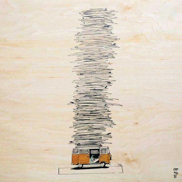 Poster en bois d'érable du Jura. 30 x 30 cm. FRANCE.