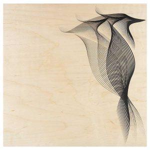 Poster en bois d'érable du Jura + son cadre. 30 x 30 cm. FRANCE.