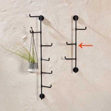 Patère verticale avec 3 crochets mobiles, Nkuku.