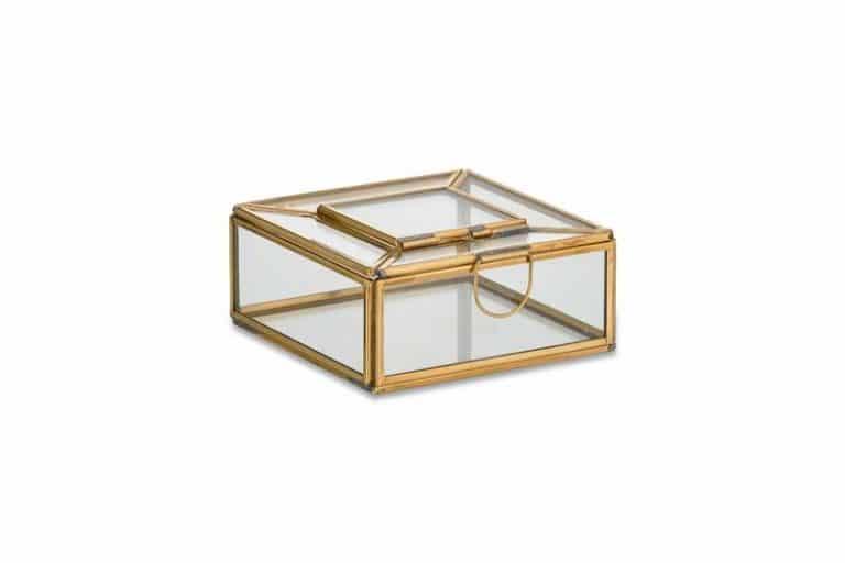 Boîte à bijoux (et à trésors!) en verre et laiton. Fait main.
