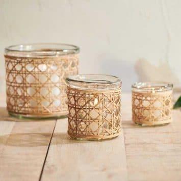 Photophore/ vase en verre recyclé et cannage osier.