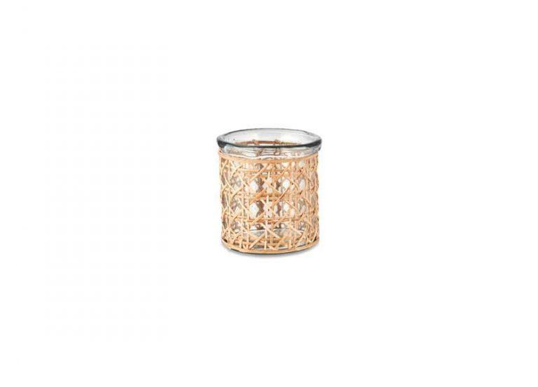 Modèle moyen: Photophore/ vase en verre recyclé et cannage osier.