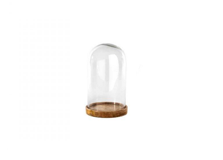 Dôme en verre recyclé sur support bois de manguier. Fait main. NKUKU.