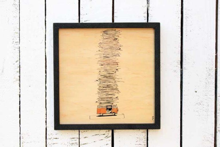 Poster AVEC CADRE en bois d'érable du Jura. 30 x 30 cm. FRANCE.