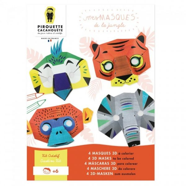 Kit créatif 4 Masques Animaux de la Jungle. France.