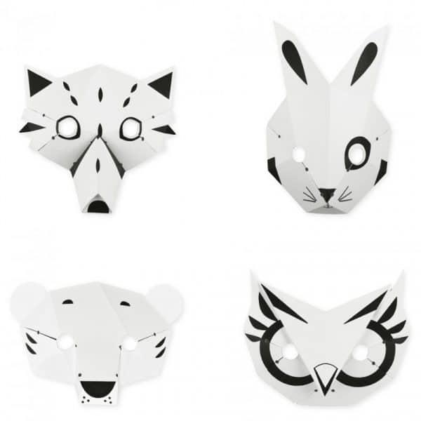 Kit créatif 4 Masques Animaux de la Forêt (DIY). France.