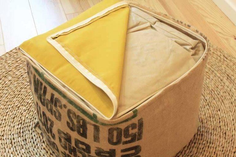 """Pouf cube """"moutarde"""" 40x40x40 cm jute/ dralon. LILOKAWA"""