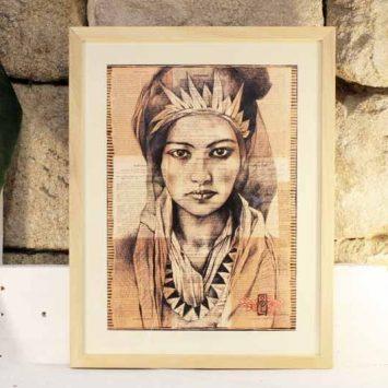 """""""Femme Berbère"""" encadrée. Reproduction signée, sur Papier d'art. Stéphanie Ledoux."""