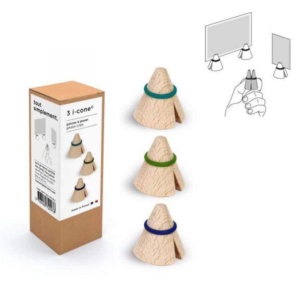 I-Cone: Set de 3 porte photos ou pince carte en bois de hêtre. France.