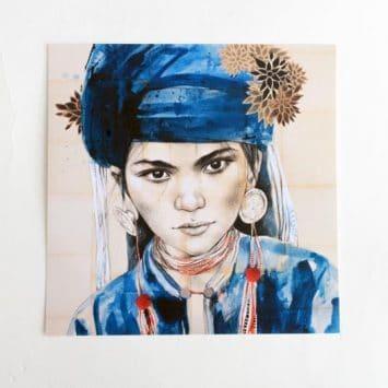 """""""Le chèche indigo"""". Carte postale, sur Papier d'art. Stéphanie Ledoux."""