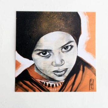"""""""Saïda"""". Carte postale, sur Papier d'art. Stéphanie Ledoux."""