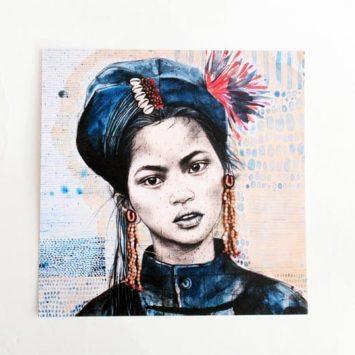 """""""Chez les Ann 1"""". Carte postale, sur Papier d'art. Stéphanie Ledoux."""