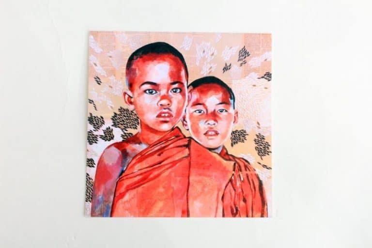 """Duo de novices"""". Carte postale, sur Papier d'art. Stéphanie Ledoux."""
